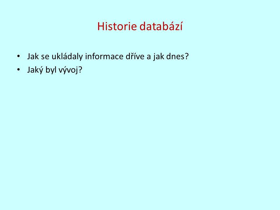 Historie databází Jak se ukládaly informace dříve a jak dnes? Jaký byl vývoj?