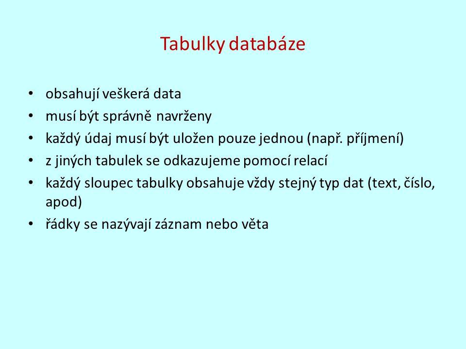 Tabulky databáze obsahují veškerá data musí být správně navrženy každý údaj musí být uložen pouze jednou (např. příjmení) z jiných tabulek se odkazuje
