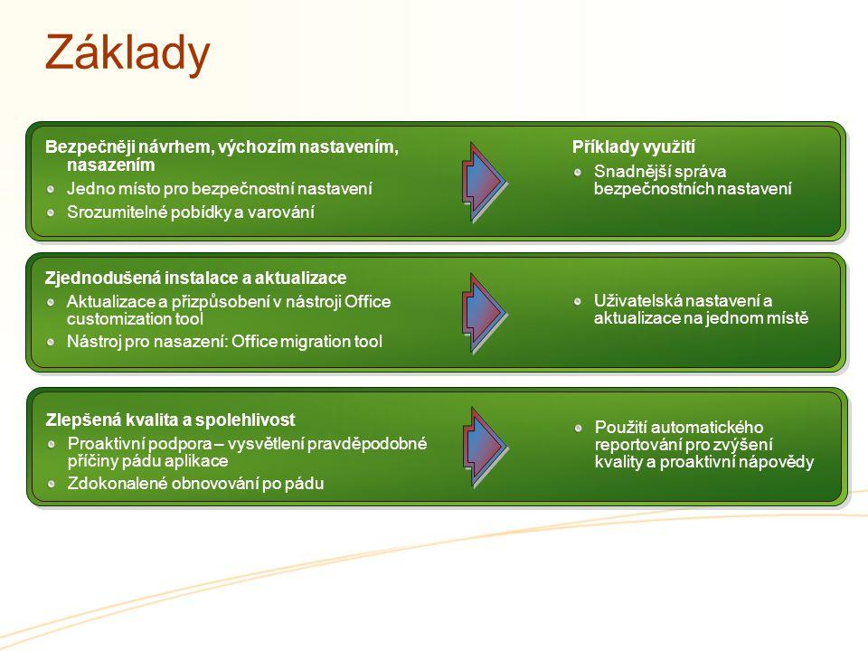 Základy Snadnější správa bezpečnostních nastavení Uživatelská nastavení a aktualizace na jednom místě Příklady využití Bezpečněji návrhem, výchozím na