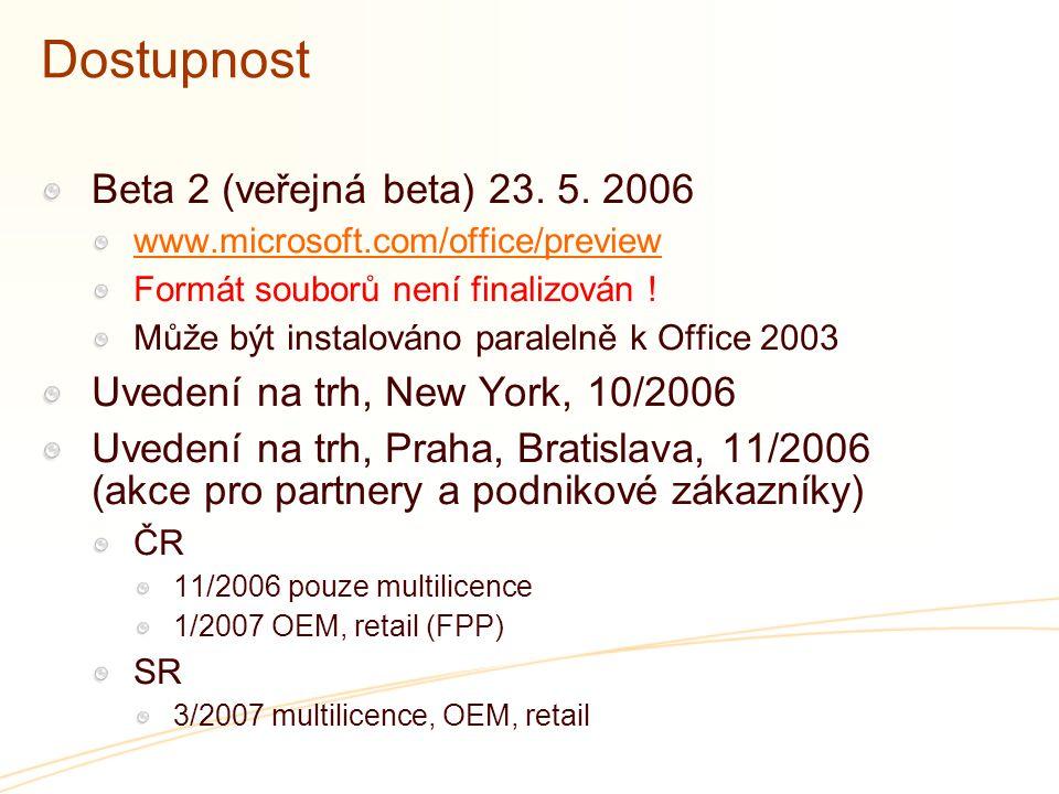Dostupnost Beta 2 (veřejná beta) 23. 5. 2006 www.microsoft.com/office/preview Formát souborů není finalizován ! Může být instalováno paralelně k Offic