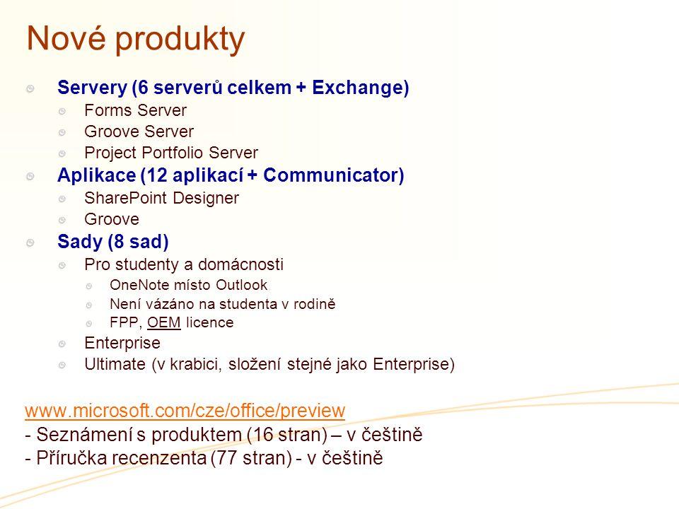 Nové produkty Servery (6 serverů celkem + Exchange) Forms Server Groove Server Project Portfolio Server Aplikace (12 aplikací + Communicator) SharePoi