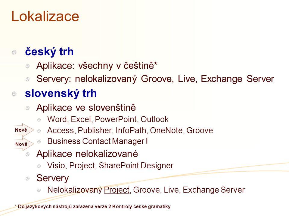 Lokalizace český trh Aplikace: všechny v češtině* Servery: nelokalizovaný Groove, Live, Exchange Server slovenský trh Aplikace ve slovenštině Word, Ex