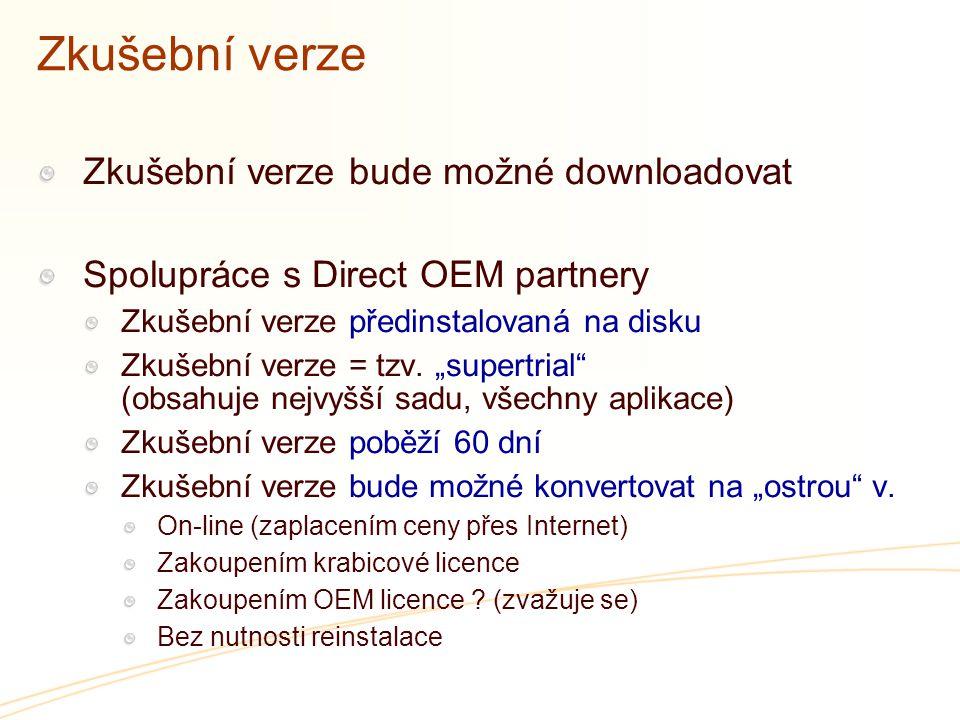 """Zkušební verze Zkušební verze bude možné downloadovat Spolupráce s Direct OEM partnery Zkušební verze předinstalovaná na disku Zkušební verze = tzv. """""""