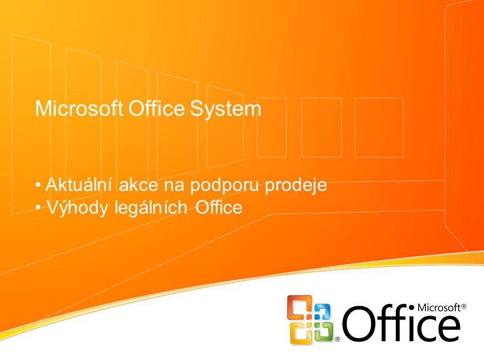Microsoft Office System Aktuální akce na podporu prodeje Výhody legálních Office