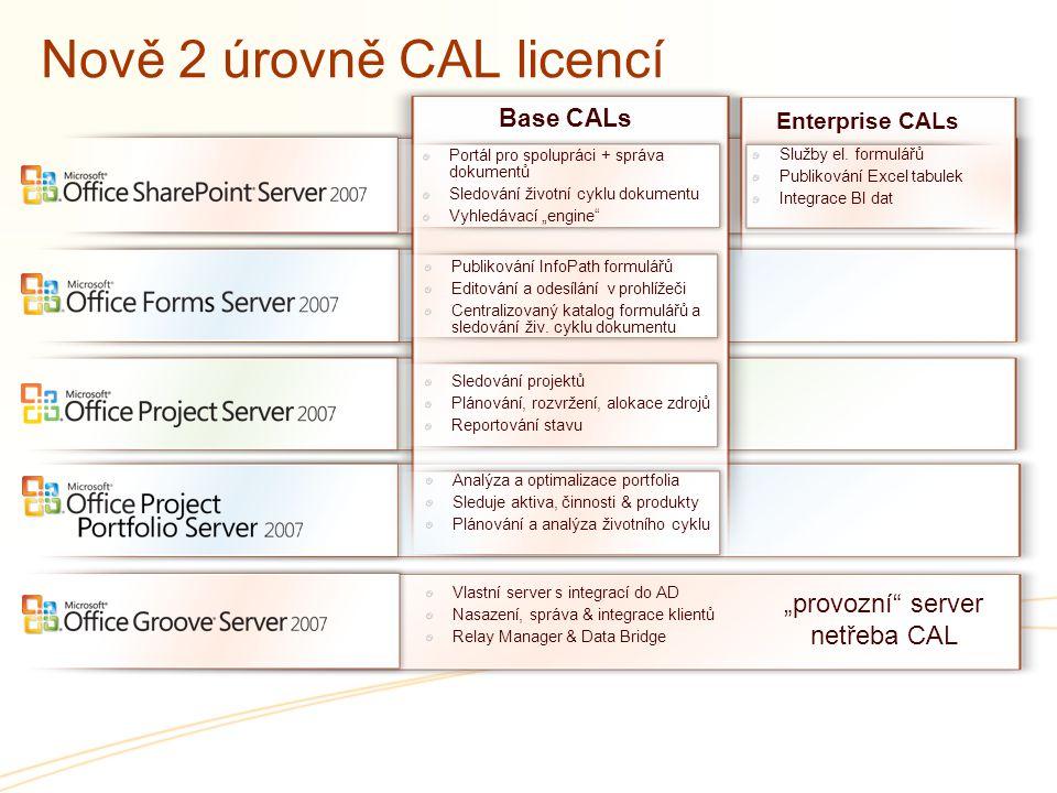 """Nově 2 úrovně CAL licencí Portál pro spolupráci + správa dokumentů Sledování životní cyklu dokumentu Vyhledávací """"engine"""" Vlastní server s integrací d"""