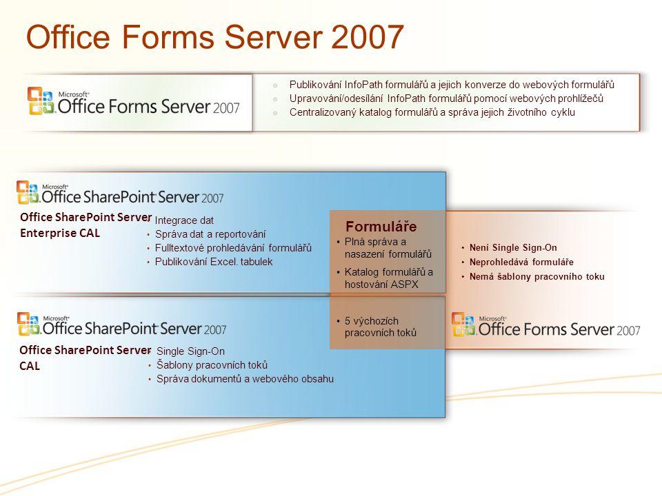 Office Forms Server 2007 Publikování InfoPath formulářů a jejich konverze do webových formulářů Upravování/odesílání InfoPath formulářů pomocí webovýc