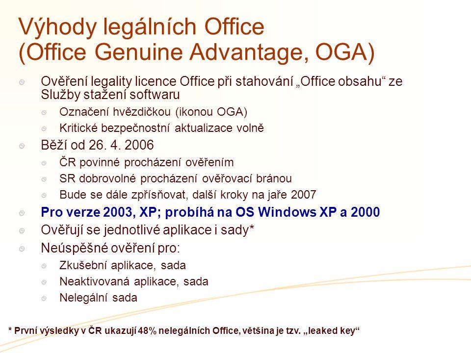 """Výhody legálních Office (Office Genuine Advantage, OGA) Ověření legality licence Office při stahování """"Office obsahu"""" ze Služby stažení softwaru Označ"""