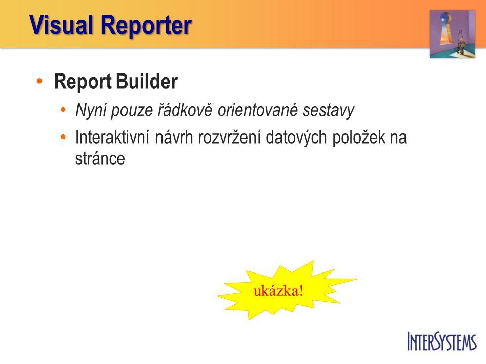 Report Builder Nyní pouze řádkově orientované sestavy Interaktivní návrh rozvržení datových položek na stránce Visual Reporter ukázka!