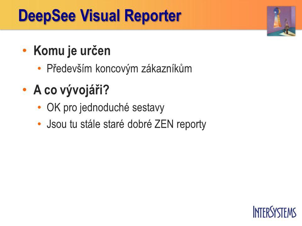 Jak Visual Reporter funguje 1.Určíme jaká data a jak budou agregována a tříděna 2.Určíme formát, v jakém se data budou zobrazovat 3.Provedeme sestavení výsledku s výstupem v PDF formátu