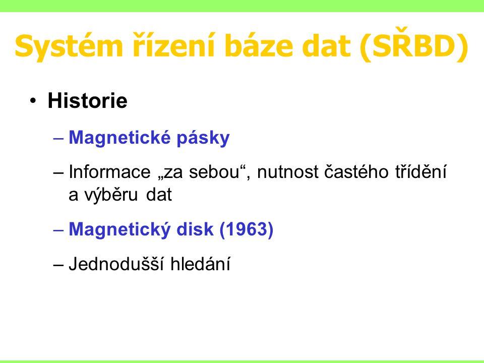 """Systém řízení báze dat (SŘBD) Historie –Magnetické pásky –Informace """"za sebou , nutnost častého třídění a výběru dat –Magnetický disk (1963) –Jednodušší hledání"""