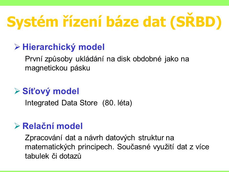 Systém řízení báze dat (SŘBD)  Hierarchický model První způsoby ukládání na disk obdobné jako na magnetickou pásku  Síťový model Integrated Data Store (80.