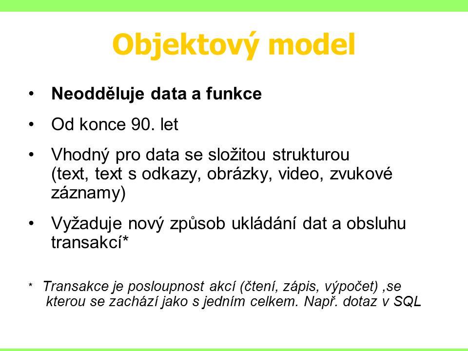 Objektový model Neodděluje data a funkce Od konce 90.