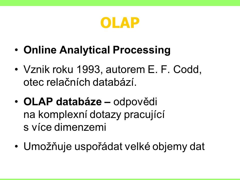 OLAP Online Analytical Processing Vznik roku 1993, autorem E.