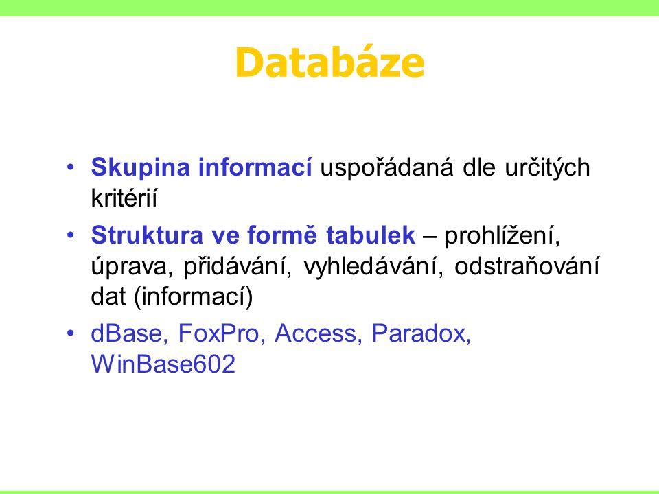 Databáze Skupina informací uspořádaná dle určitých kritérií Struktura ve formě tabulek – prohlížení, úprava, přidávání, vyhledávání, odstraňování dat (informací) dBase, FoxPro, Access, Paradox, WinBase602