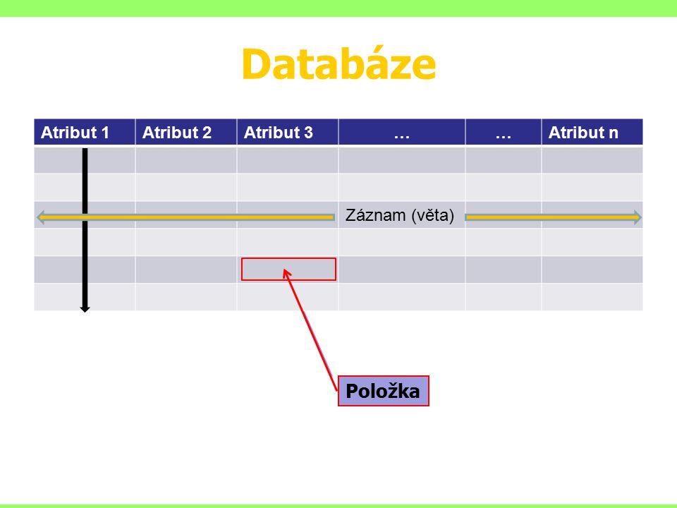 Databáze Atribut 1Atribut 2Atribut 3……Atribut n Záznam Atribut 1Atribut 2Atribut 3……Atribut n Záznam (věta) Položka