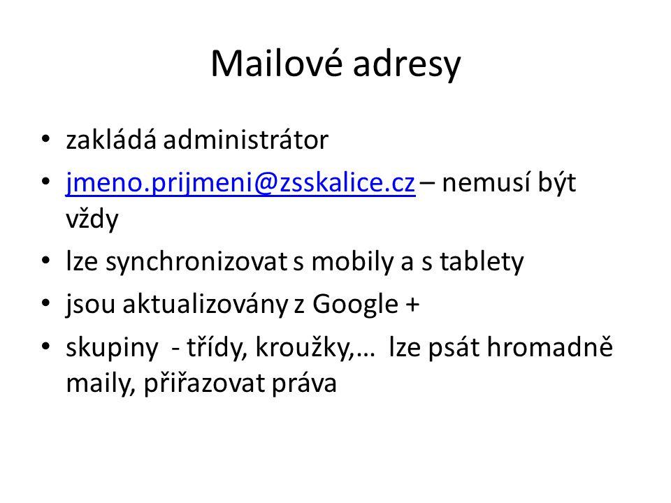Mailové adresy zakládá administrátor jmeno.prijmeni@zsskalice.cz – nemusí být vždy jmeno.prijmeni@zsskalice.cz lze synchronizovat s mobily a s tablety jsou aktualizovány z Google + skupiny - třídy, kroužky,… lze psát hromadně maily, přiřazovat práva
