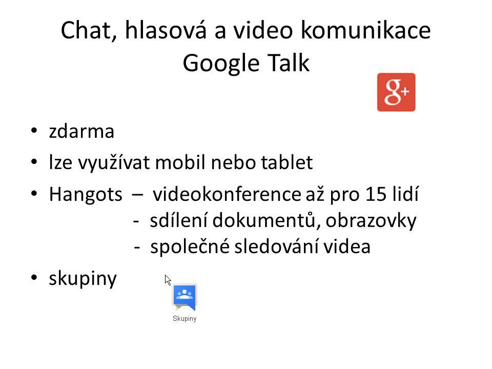 Chat, hlasová a video komunikace Google Talk zdarma lze využívat mobil nebo tablet Hangots – videokonference až pro 15 lidí - sdílení dokumentů, obrazovky - společné sledování videa skupiny