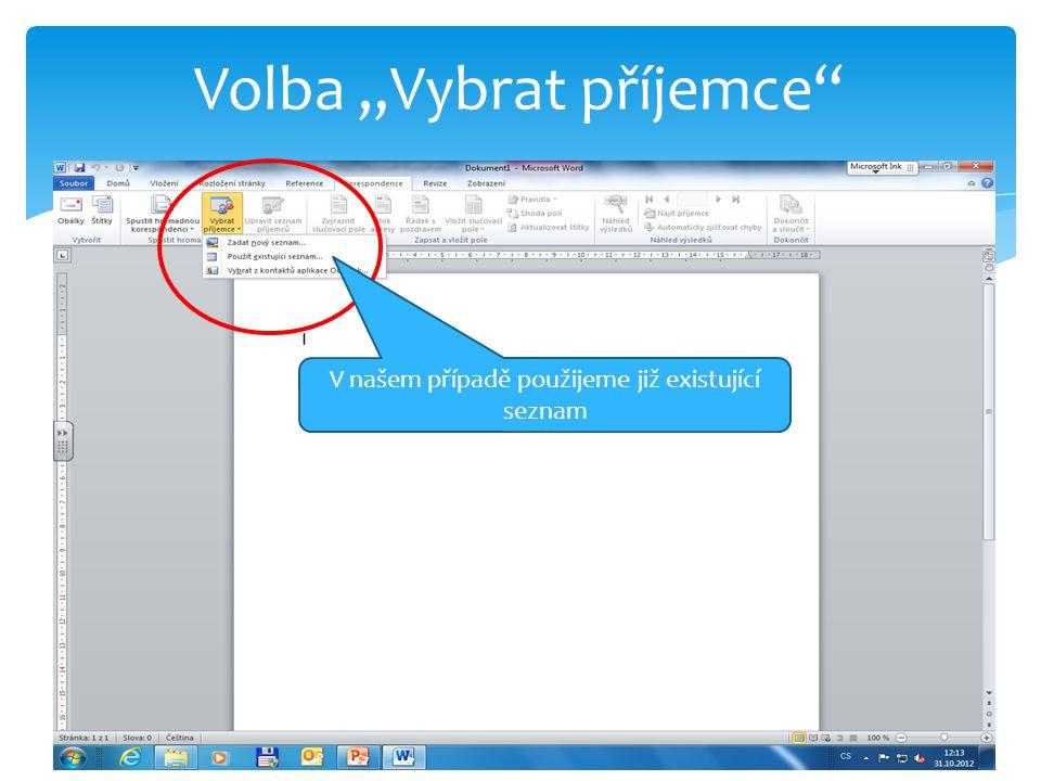 Vybereme připravený soubor vytvořený v tabulkovém procesoru Excel
