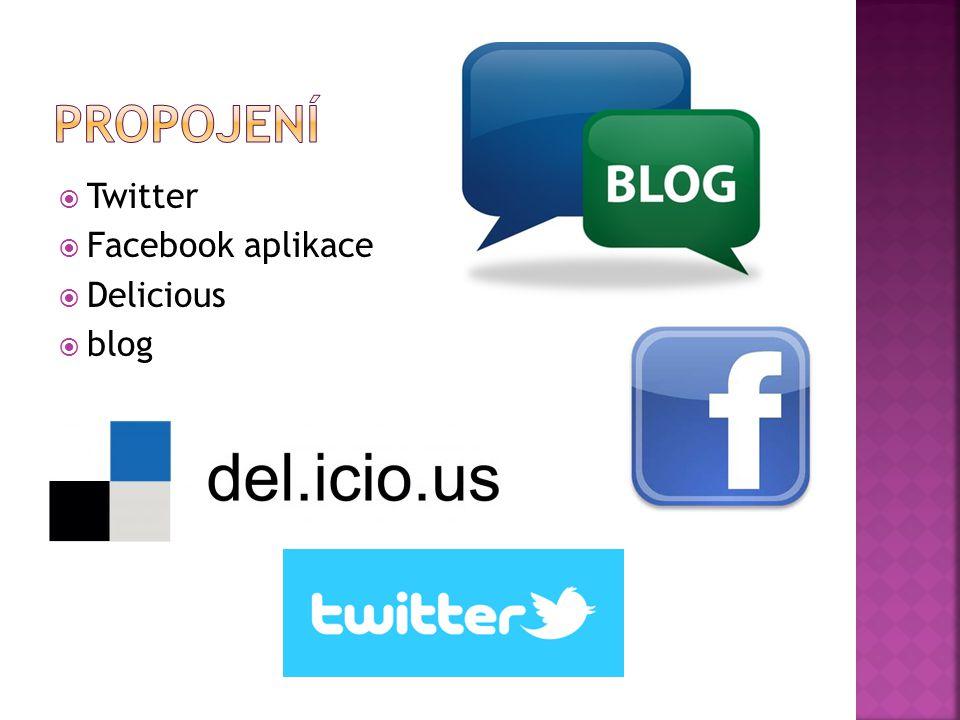  Twitter  Facebook aplikace  Delicious  blog
