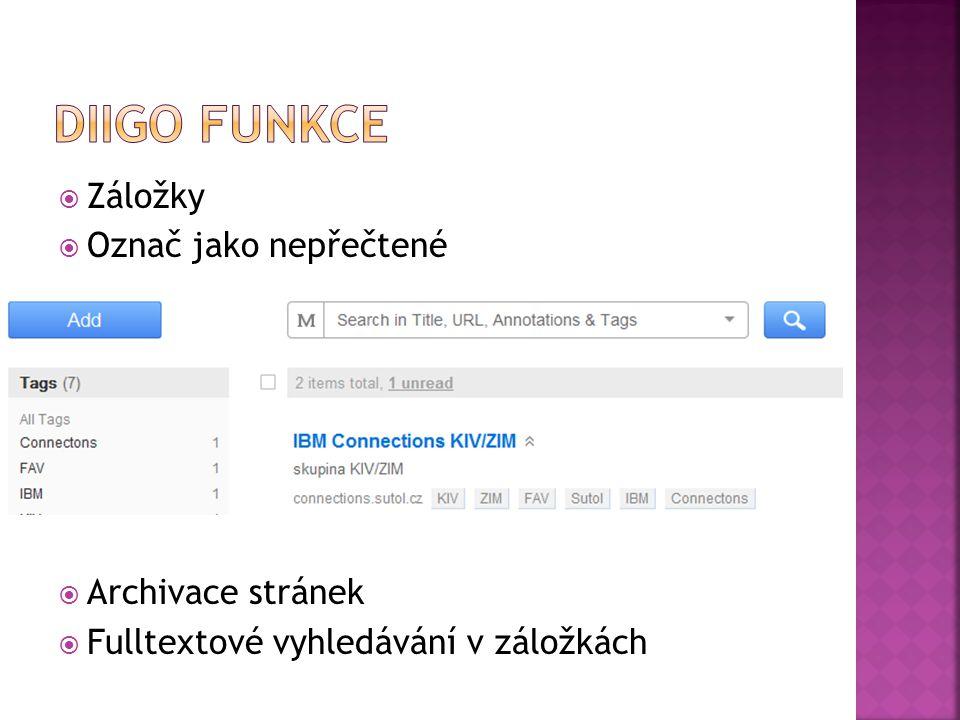  Záložky  Označ jako nepřečtené  Archivace stránek  Fulltextové vyhledávání v záložkách
