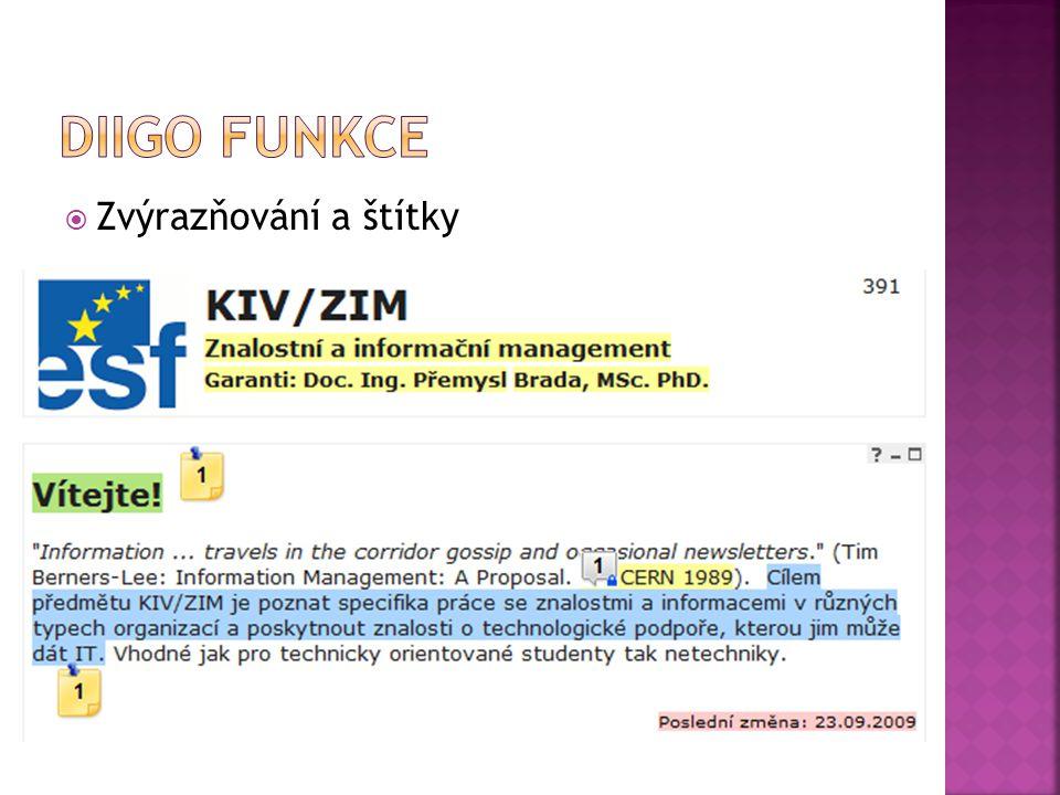  Správa a organizace všech záložek, dokumentů, materiálů, poznámek  Tagy a seznamy