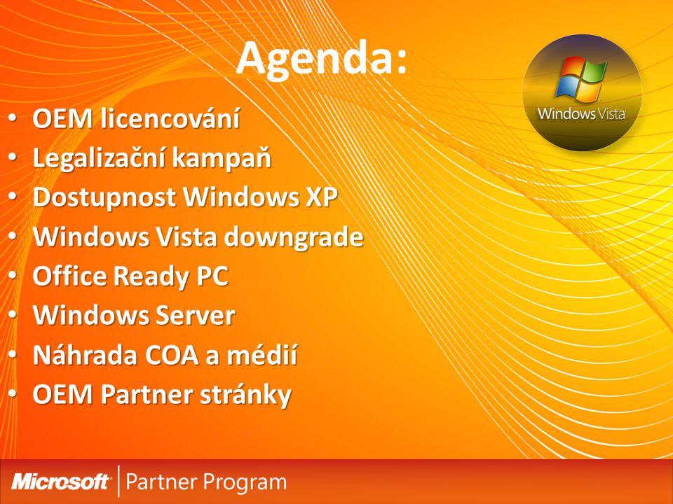 Agenda: OEM licencování OEM licencování Legalizační kampaň Legalizační kampaň Dostupnost Windows XP Dostupnost Windows XP Windows Vista downgrade Wind