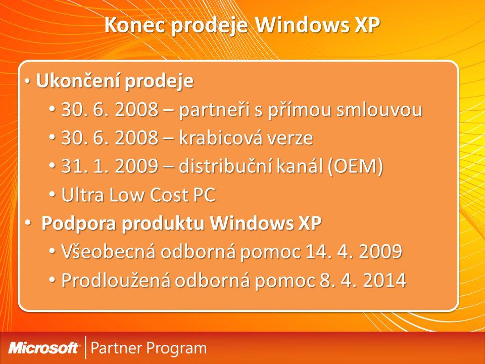 Konec prodeje Windows XP Ukončení prodeje Ukončení prodeje 30. 6. 2008 – partneři s přímou smlouvou 30. 6. 2008 – partneři s přímou smlouvou 30. 6. 20