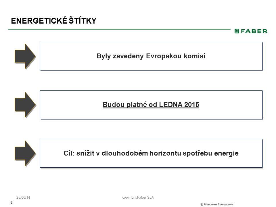 5 25/06/14 ENERGETICKÉ ŠTÍTKY January 2015 Byly zavedeny Evropskou komisí Budou platné od LEDNA 2015 Cíl: snížit v dlouhodobém horizontu spotřebu energie copyright Faber SpA