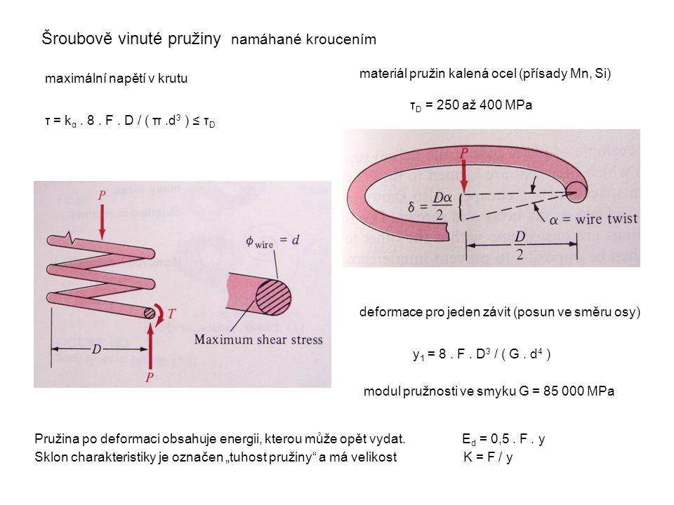 Šroubově vinuté pružiny namáhané kroucením maximální napětí v krutu τ = k α. 8. F. D / ( π.d 3 ) ≤ τ D materiál pružin kalená ocel (přísady Mn, Si) τ