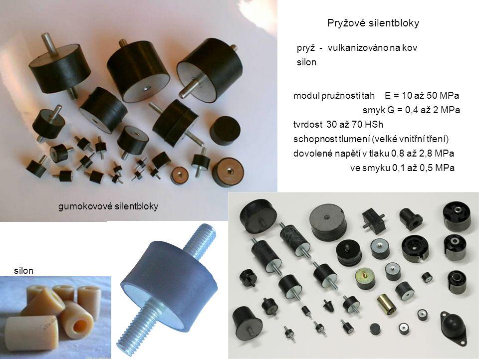 Pryžové silentbloky pryž - vulkanizováno na kov silon modul pružnosti tah E = 10 až 50 MPa smyk G = 0,4 až 2 MPa tvrdost 30 až 70 HSh schopnost tlumen