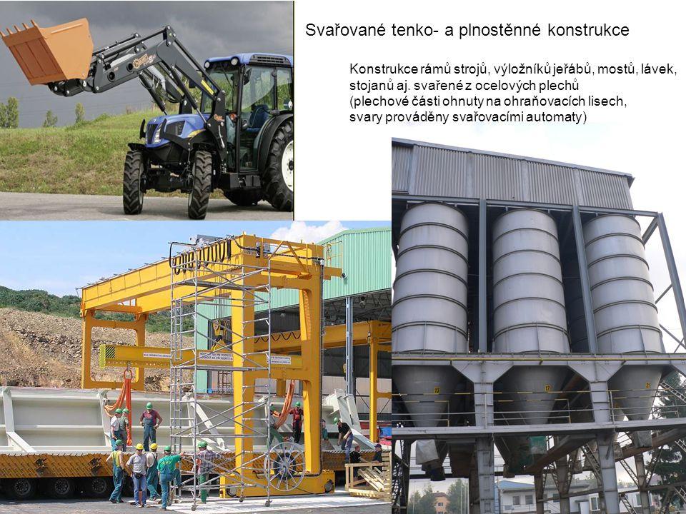 Svařované tenko- a plnostěnné konstrukce Konstrukce rámů strojů, výložníků jeřábů, mostů, lávek, stojanů aj. svařené z ocelových plechů (plechové část