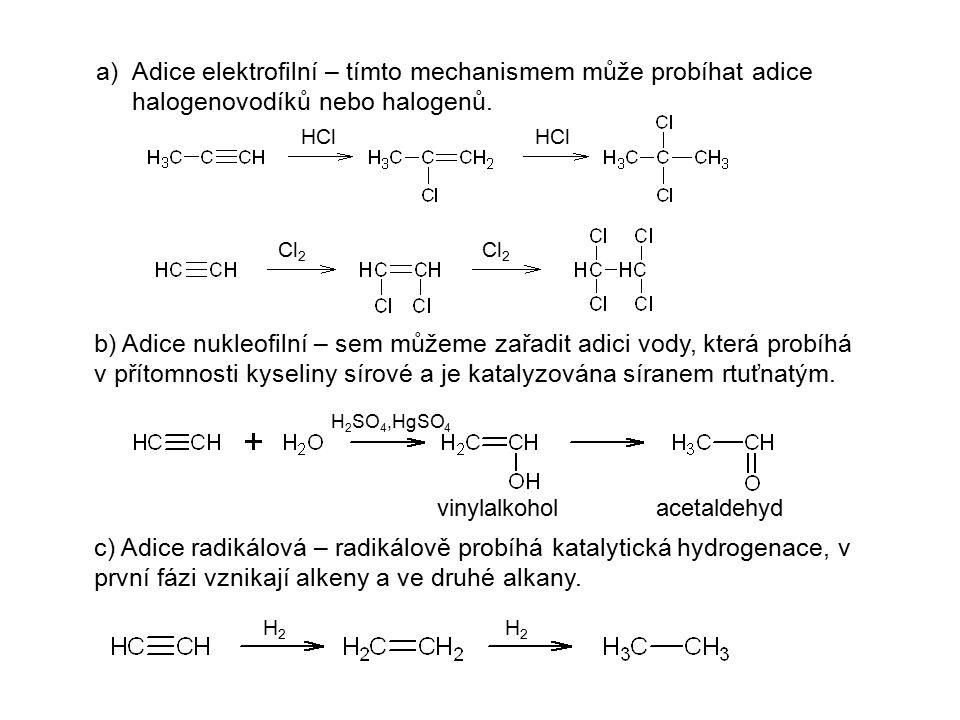 a)Adice elektrofilní – tímto mechanismem může probíhat adice halogenovodíků nebo halogenů. b) Adice nukleofilní – sem můžeme zařadit adici vody, která