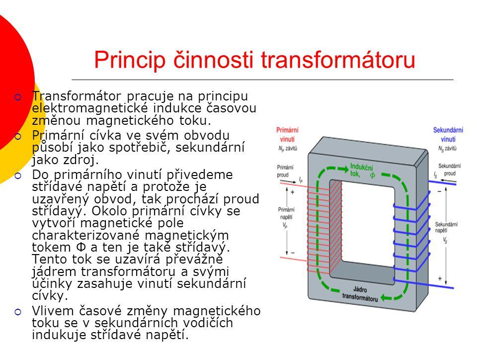 Princip činnosti transformátoru  Transformátor pracuje na principu elektromagnetické indukce časovou změnou magnetického toku.  Primární cívka ve sv