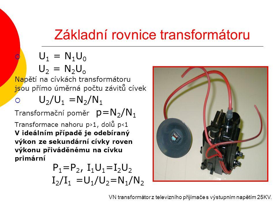 Základní rovnice transformátoru  U 1 = N 1 U 0 U 2 = N 2 U o Napětí na cívkách transformátoru jsou přímo úměrná počtu závitů cívek  U 2 /U 1 =N 2 /N