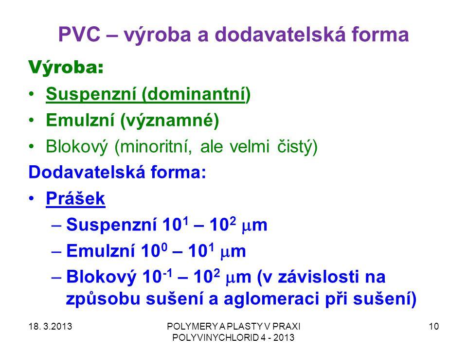 PVC – výroba a dodavatelská forma Výroba: Suspenzní (dominantní) Emulzní (významné) Blokový (minoritní, ale velmi čistý) Dodavatelská forma: Prášek –S