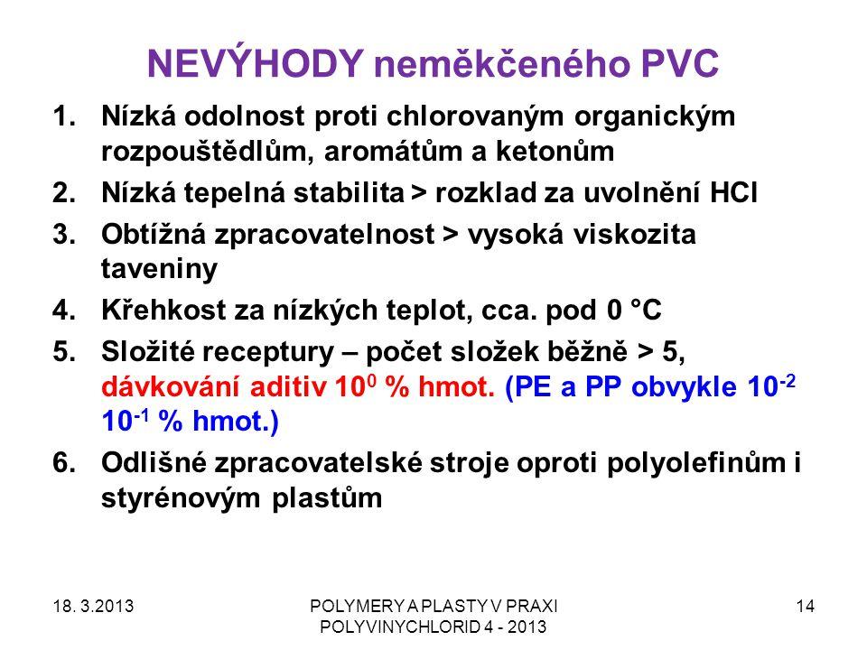 NEVÝHODY neměkčeného PVC 18. 3.2013POLYMERY A PLASTY V PRAXI POLYVINYCHLORID 4 - 2013 14 1.Nízká odolnost proti chlorovaným organickým rozpouštědlům,