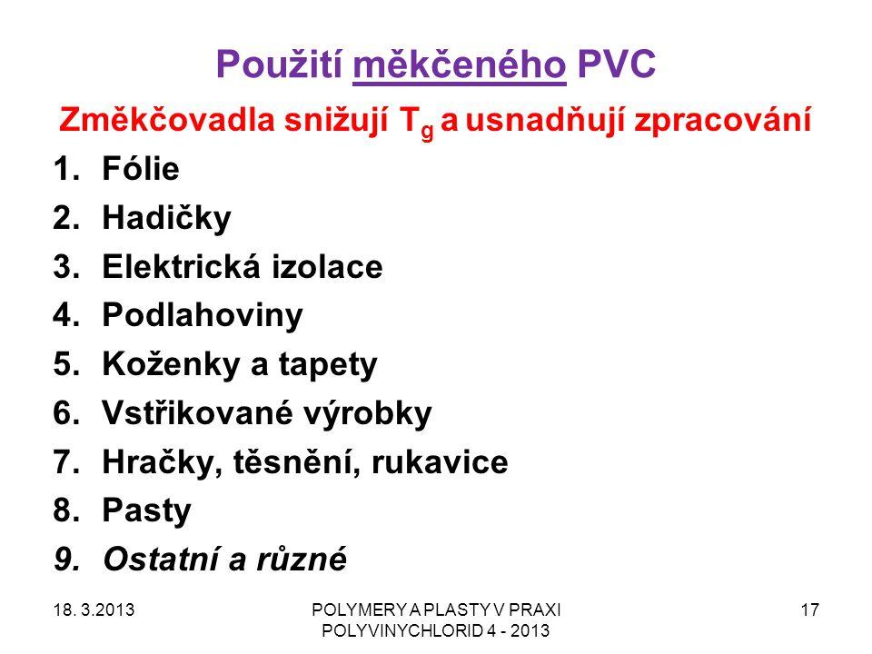 Použití měkčeného PVC 18. 3.2013POLYMERY A PLASTY V PRAXI POLYVINYCHLORID 4 - 2013 17 Změkčovadla snižují T g a usnadňují zpracování 1.Fólie 2.Hadičky