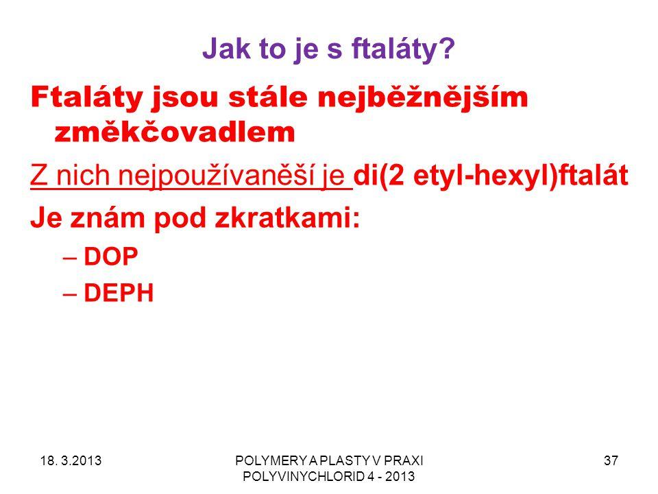 Jak to je s ftaláty? 18. 3.2013POLYMERY A PLASTY V PRAXI POLYVINYCHLORID 4 - 2013 37 Ftaláty jsou stále nejběžnějším změkčovadlem Z nich nejpoužívaněš