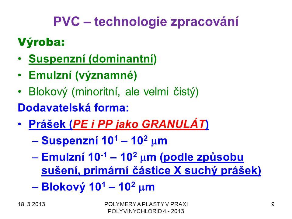 PVC – výroba a dodavatelská forma Výroba: Suspenzní (dominantní) Emulzní (významné) Blokový (minoritní, ale velmi čistý) Dodavatelská forma: Prášek –Suspenzní 10 1 – 10 2  m –Emulzní 10 0 – 10 1  m –Blokový 10 -1 – 10 2  m (v závislosti na způsobu sušení a aglomeraci při sušení) 18.