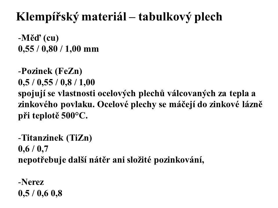 SEZNAM PŘÍLOH Klempířský materiál – tabulkový plech -Měď (cu) 0,55 / 0,80 / 1,00 mm -Pozinek (FeZn) 0,5 / 0,55 / 0,8 / 1,00 spojují se vlastnosti ocel