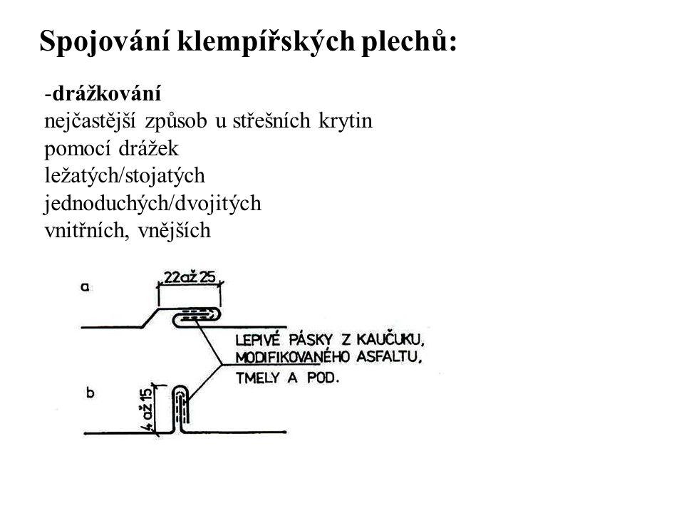 SEZNAM PŘÍLOH Spojování klempířských plechů: -drážkování nejčastější způsob u střešních krytin pomocí drážek ležatých/stojatých jednoduchých/dvojitých