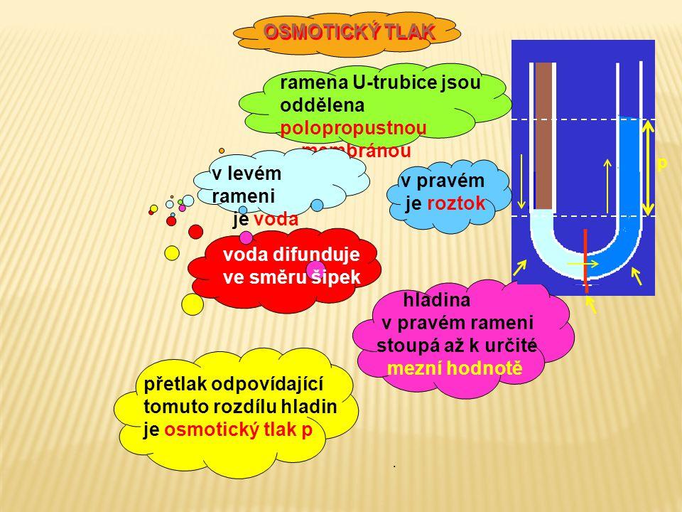 OSMOTICKÝ TLAK OSMOTICKÝ TLAK ramena U-trubice jsou oddělena polopropustnou membránou v levém rameni je voda v pravém je roztok hladina v pravém rameni stoupá až k určité mezní hodnotě přetlak odpovídající tomuto rozdílu hladin je osmotický tlak p p voda difunduje ve směru šipek.