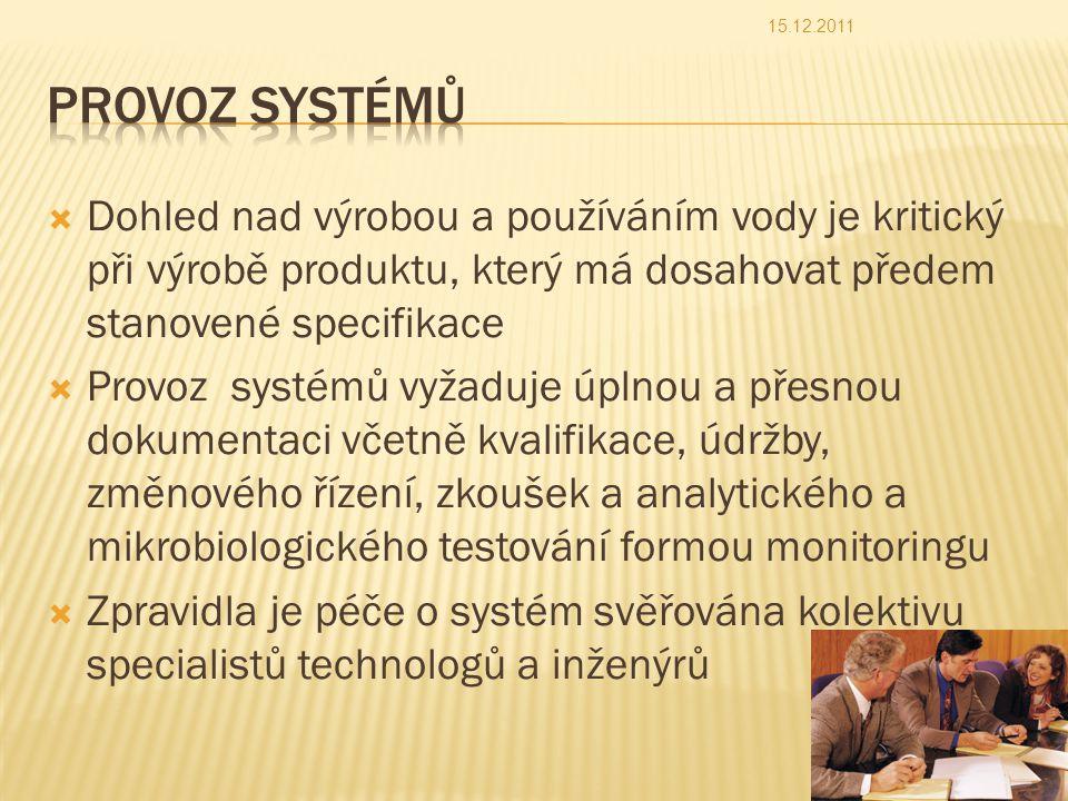  Dohled nad výrobou a používáním vody je kritický při výrobě produktu, který má dosahovat předem stanovené specifikace  Provoz systémů vyžaduje úplnou a přesnou dokumentaci včetně kvalifikace, údržby, změnového řízení, zkoušek a analytického a mikrobiologického testování formou monitoringu  Zpravidla je péče o systém svěřována kolektivu specialistů technologů a inženýrů 15.12.2011 42