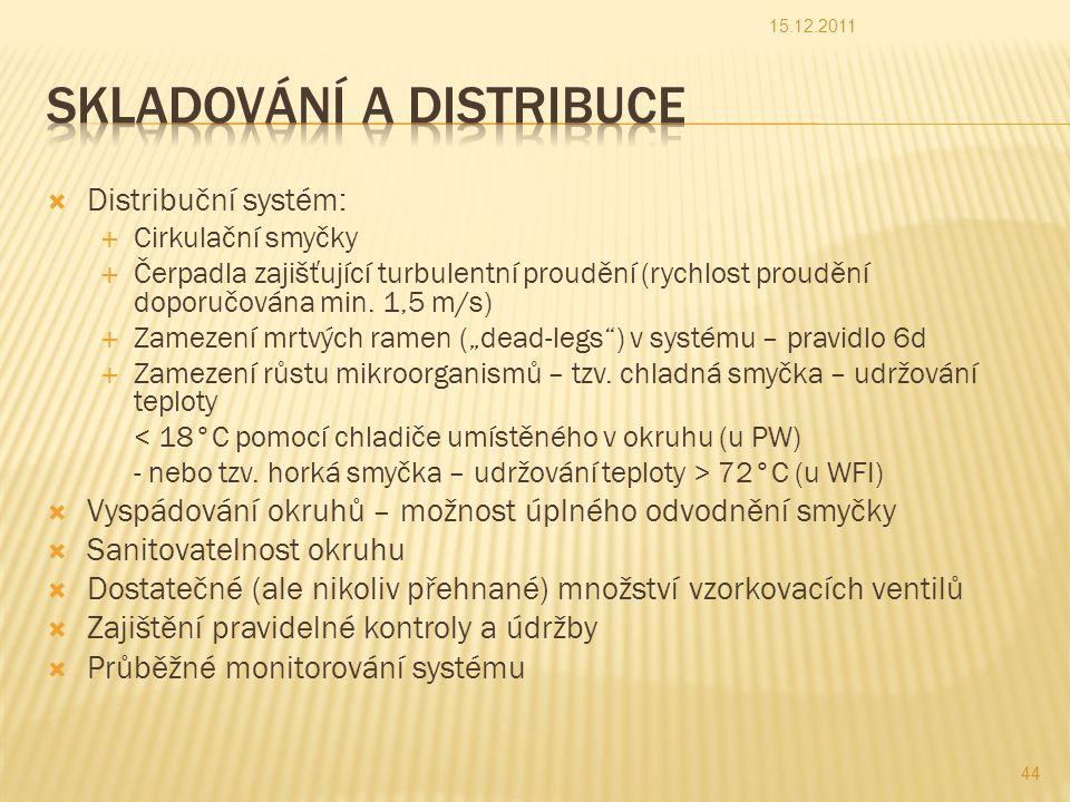  Distribuční systém:  Cirkulační smyčky  Čerpadla zajišťující turbulentní proudění (rychlost proudění doporučována min.