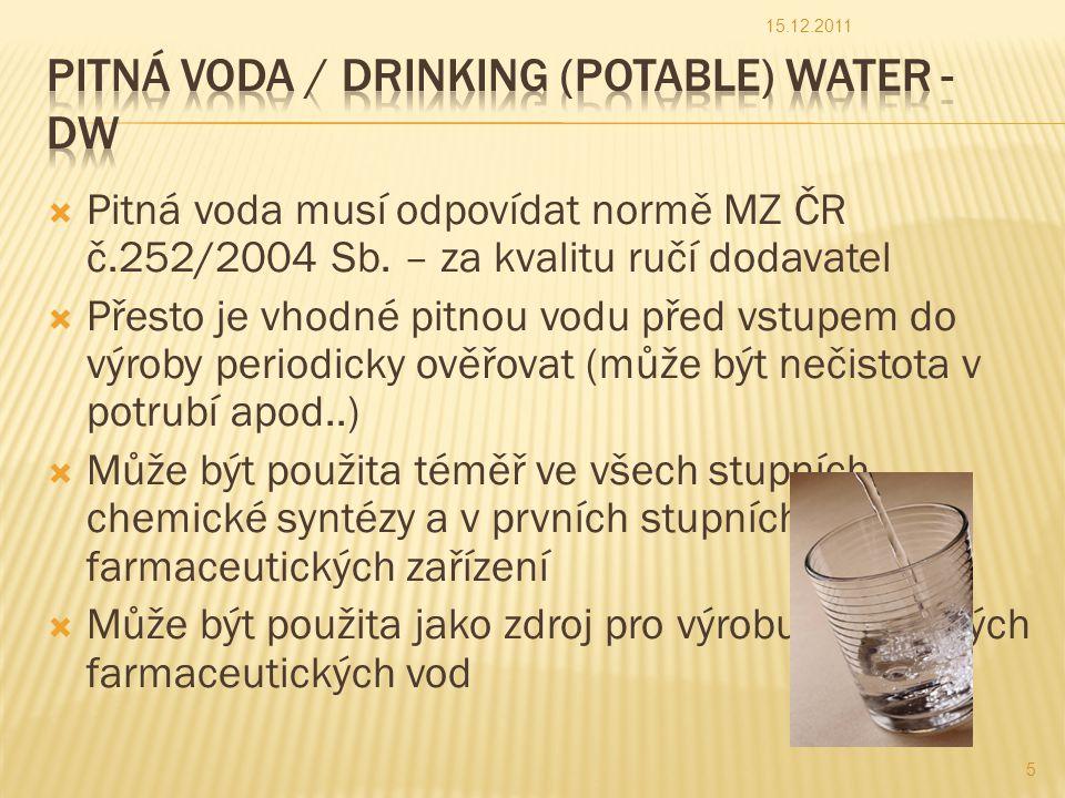  Čištěná voda je určená pro výrobu farmaceutických přípravků, u nichž není požadováno, aby byly sterilní a prosté pyrogenních látek  Voda je připravována vhodnou metodou z vody, která splňuje požadavky na vodu určenou pro humánní účely stanovené kompetentní autoritou (ČR – pitná voda)  Požadavky na čištěnou vodu určuje Český lékopis, který vychází z požadavků Ph.Eur.