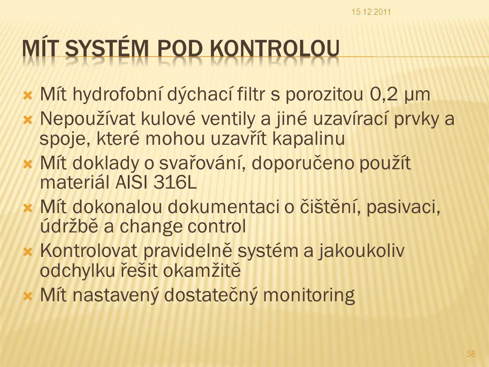  Mít hydrofobní dýchací filtr s porozitou 0,2 µm  Nepoužívat kulové ventily a jiné uzavírací prvky a spoje, které mohou uzavřít kapalinu  Mít doklady o svařování, doporučeno použít materiál AISI 316L  Mít dokonalou dokumentaci o čištění, pasivaci, údržbě a change control  Kontrolovat pravidelně systém a jakoukoliv odchylku řešit okamžitě  Mít nastavený dostatečný monitoring 15.12.2011 58