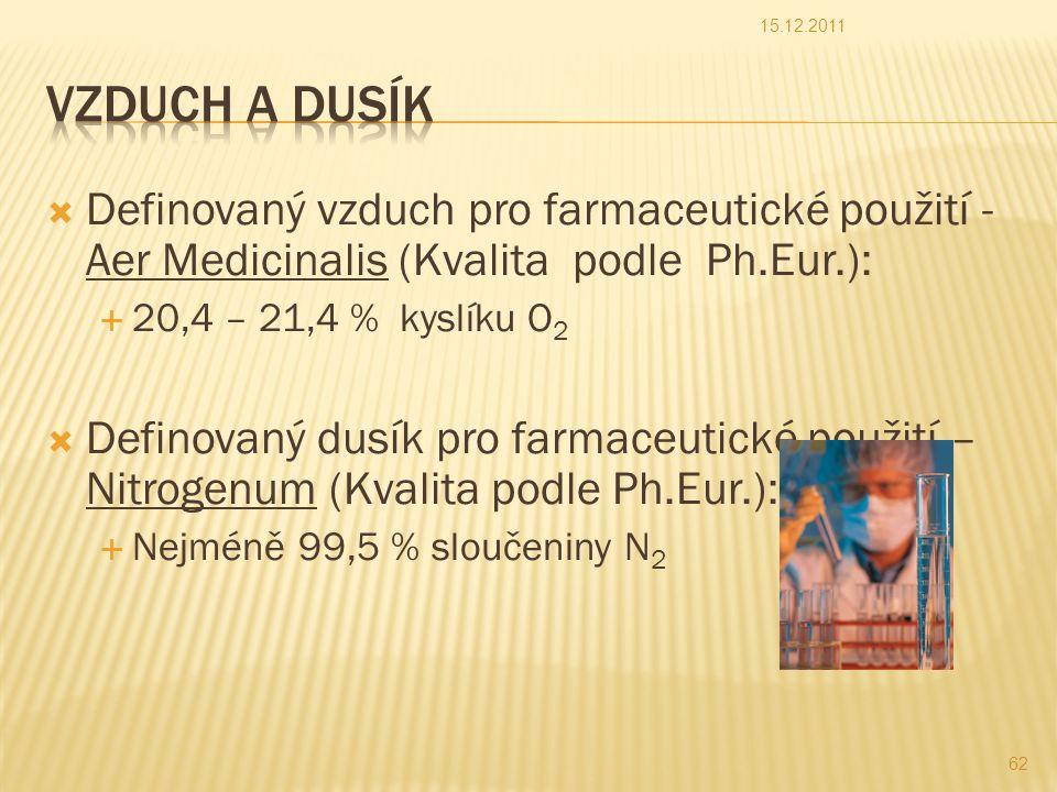  Definovaný vzduch pro farmaceutické použití - Aer Medicinalis (Kvalita podle Ph.Eur.):  20,4 – 21,4 % kyslíku O 2  Definovaný dusík pro farmaceutické použití – Nitrogenum (Kvalita podle Ph.Eur.):  Nejméně 99,5 % sloučeniny N 2 15.12.2011 62
