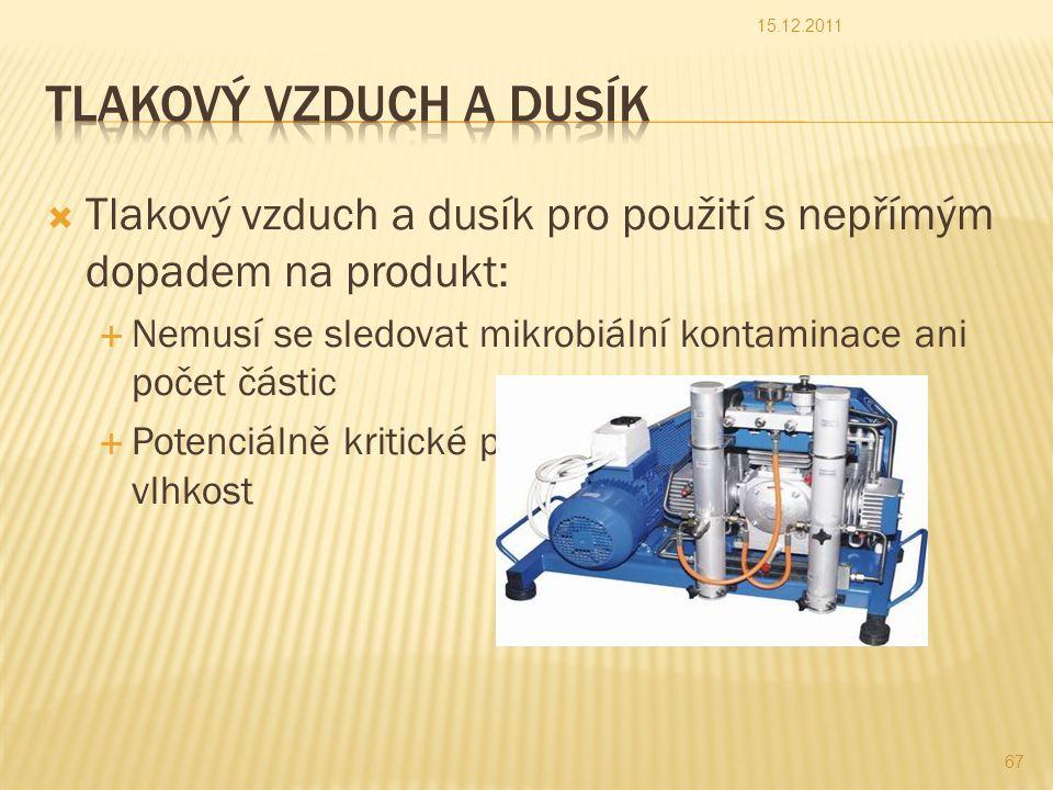  Tlakový vzduch a dusík pro použití s nepřímým dopadem na produkt:  Nemusí se sledovat mikrobiální kontaminace ani počet částic  Potenciálně kritické parametry: tlak, teplota, vlhkost 15.12.2011 67