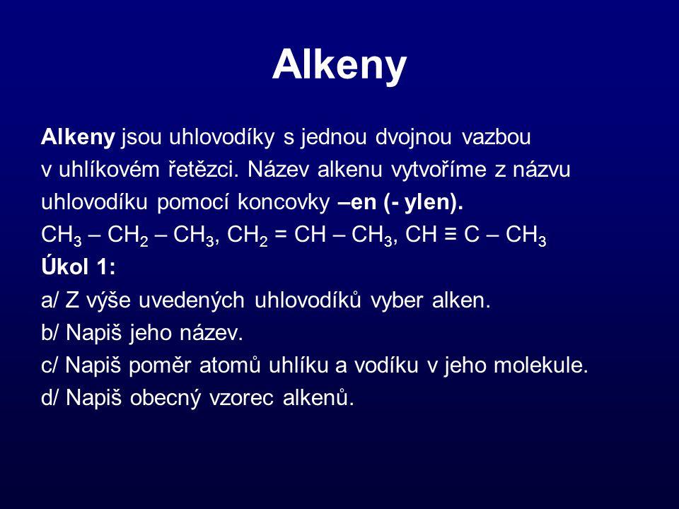 Alkeny Alkeny jsou uhlovodíky s jednou dvojnou vazbou v uhlíkovém řetězci. Název alkenu vytvoříme z názvu uhlovodíku pomocí koncovky –en (- ylen). CH