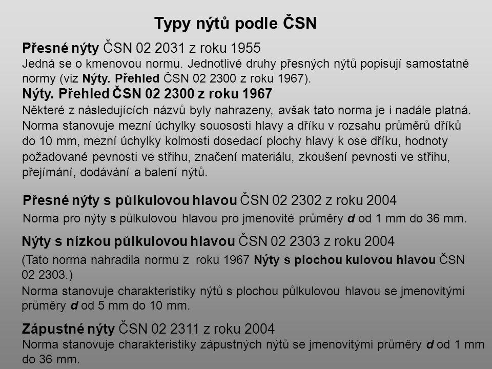 Přesné nýty ČSN 02 2031 z roku 1955 Jedná se o kmenovou normu. Jednotlivé druhy přesných nýtů popisují samostatné normy (viz Nýty. Přehled ČSN 02 2300
